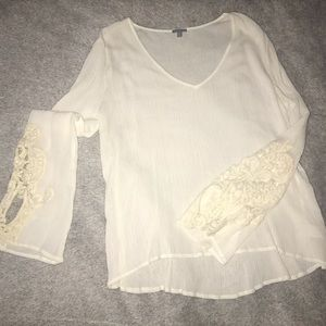 Long sleeve top with lace on sleeves